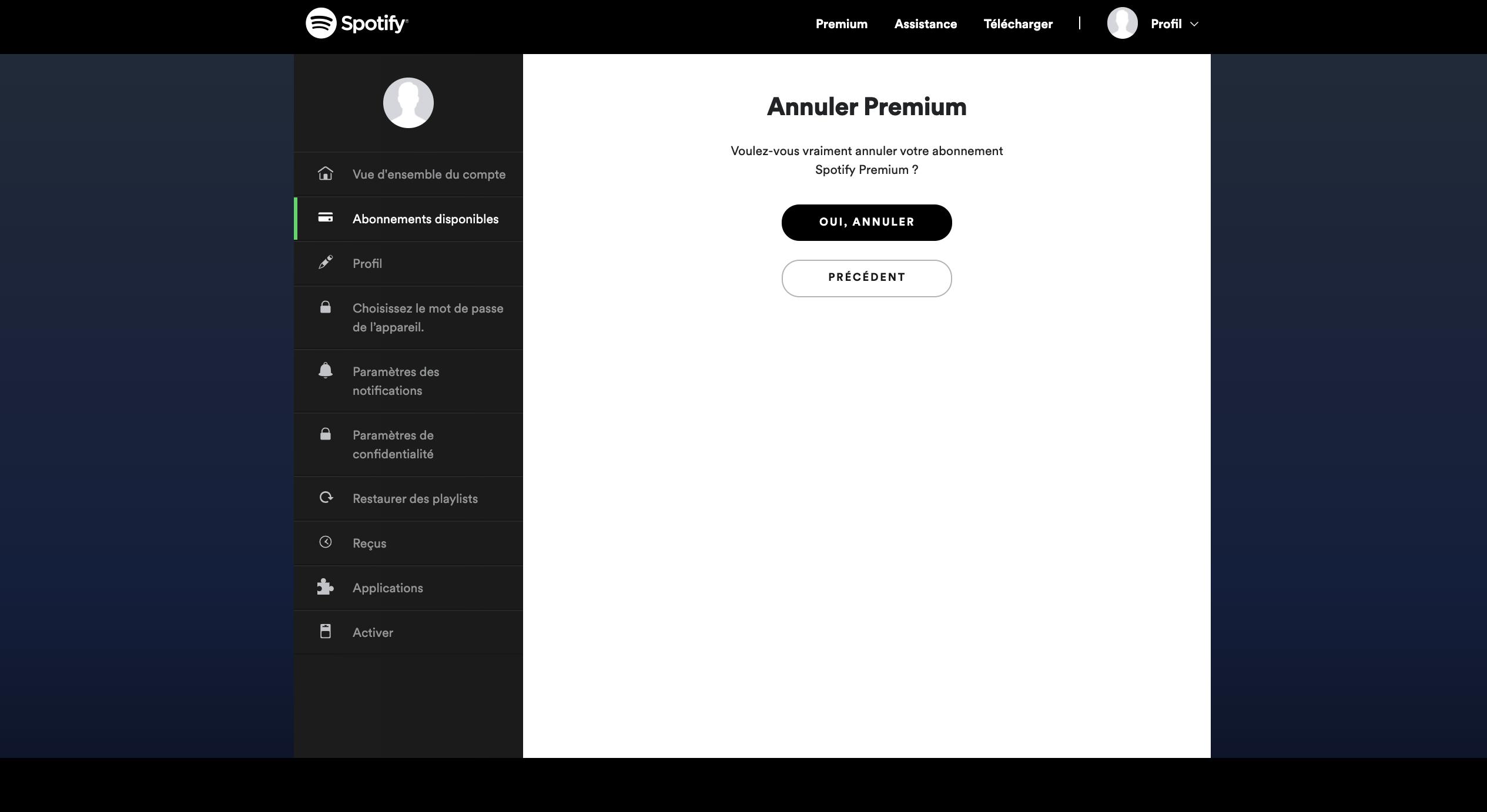 Résilier Spotify premium - Etape finale - Annuler l'abonnement