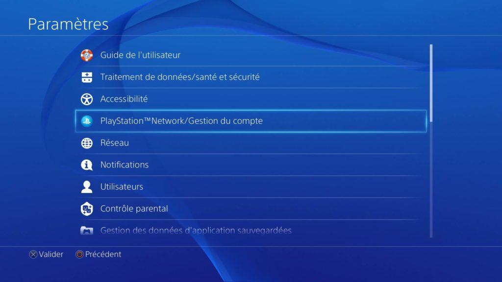 Désabonnement Playstation Plus étape 2 : Gestion du compte