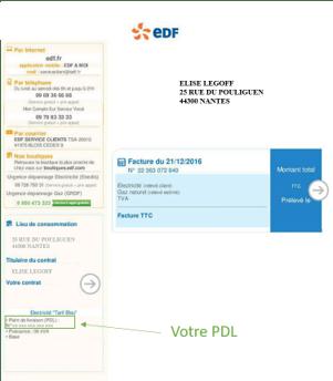 Facture EDF indiquant l'endroit où trouver son PDL