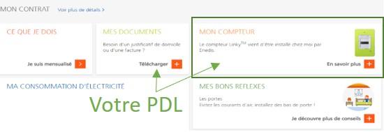 Image montrant où trouver son PDL sans facture sur son espace client EDF