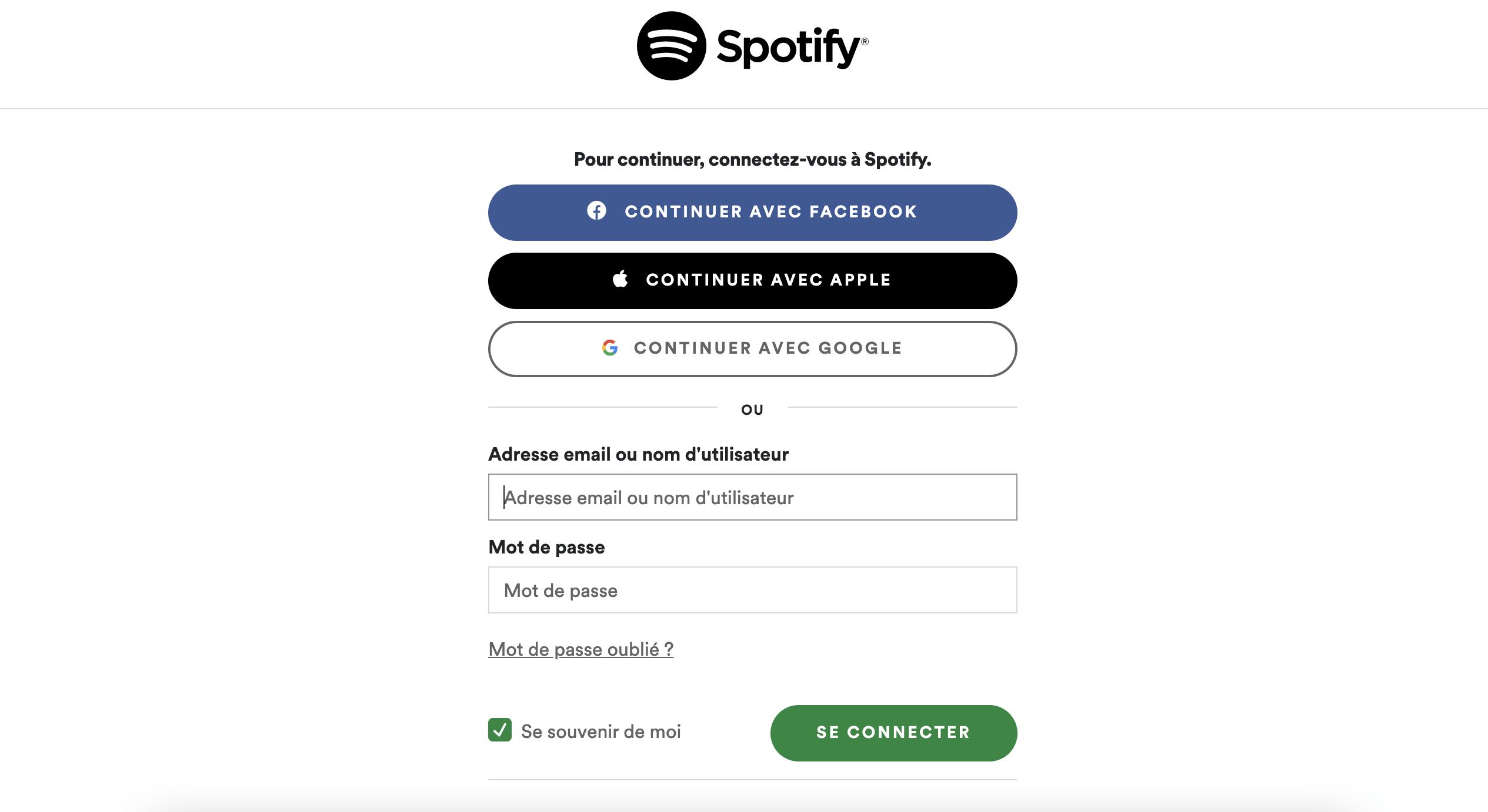 Résilier spotify en commençant par vous connecter