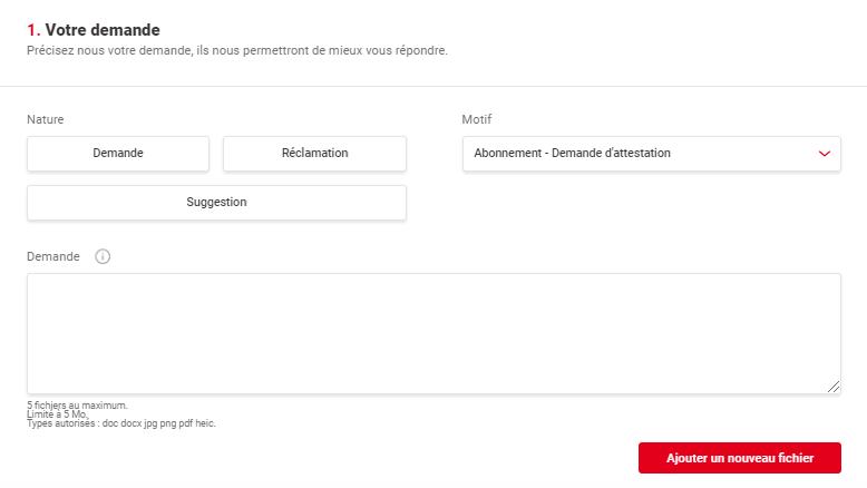 Aperçu du formulaire de contact du réseau TCL à Lyon