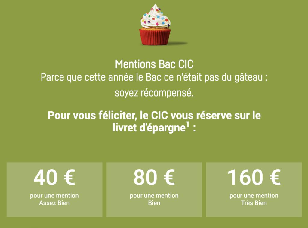 Les primes pour les mentions au BAC 2021 offerte par le CIC