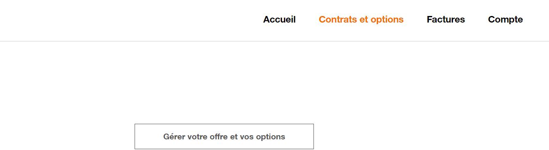 Résilier sa box Orange en cliquant sur Gérer votre offre et vos options
